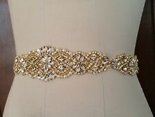 "Wedding Dress Sash Belt -  Gold Crystal Pearl Bridal Sash Belt = 14 1/2"" long"