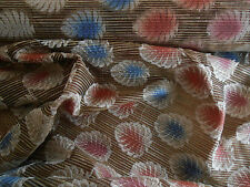 INDIAN FERN EMBROIDERED RAW SILK MULTI DRESSMAKING FABRIC SARI TEX EX 1096