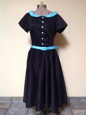 Pinup Girl Clothing Pinup Couture Black and Baby Blue Dee Dee Dress  - LARGE