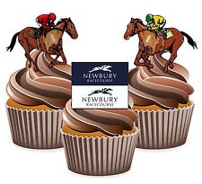 Horse Racing Newbury Racecourse - 12 Edible Cup Cake Toppers Cake Decorations