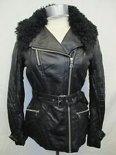 Guess Women's Small Black Belted Full Zip Faux Leather Jacket MSRP 140.00 Z58