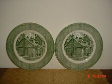 """2-PC ROYAL CHINA """"THE OLD CURIOSITY SHOP"""" 10"""" DINNER PLATES/GRN-WHT/CLEARANCE!"""
