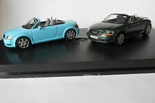 Audi TT Roadster Turquoise & Metallic Green 1/43 Minichamps Display Case 2 Cars