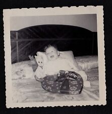 Antique Photograph Adorable Baby on Bed Laughing Valentine & Stuffed Animal