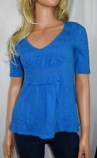DELETTA ANTHROPOLOGIE Thea Royal Blue Gathered Top Size Small