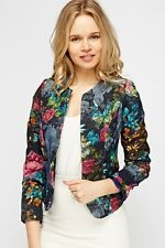 Women Textured Cropped Blazer Color Navy/Multi