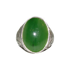 Men's Antique Inspired Oval Chinese Inspired Sterling Silver and Jade Cabochon R