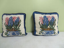 """Pair Hand Made Pillows Needlepoint Floral Beige Velvet Backing Zipper 10"""" X 8"""""""