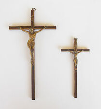 VINTAGE WOOD AND BRASS WALL MOUNT PAIR OF CROSSES CRUCIFIXES JESUS INRI