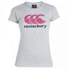CANTERBURY Womens Light Grey Marl 100% Cotton CCC Rubgy Logo T-Shirt UK 16 BNWT