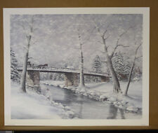 Natures Stillness Fred Thrasher Ky Artist SN Deer Horse and Buggy Snow Church SO
