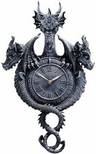 Past Present Future Sculptural Fierce Winged Beasts Dragon Gothic Wall Clock