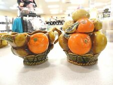 "Inarco ""Orange Spice"" sculptural 3D fruit CREAMER & SUGAR BOWL 60'S FOIL TAGS"
