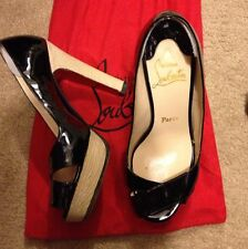 "GORGEOUS AUTHENTIC Christian Louboutin ""Marple"" Black Patent Peep Toe 37.5,  1/2"