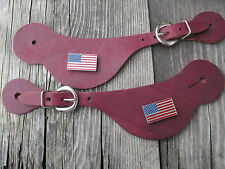 Burgundy Leather Spur Straps USA flag concho ornament
