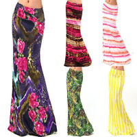New Ladies Women High Waisted Gypsy Long Jersey Bodycon Maxi Dress Skirt UK 8-14