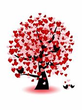 PRINT POSTER PAINTING LOVE HEART TREE LEAVES BIRDS BRANCHES ROMANTIC LFMP0045