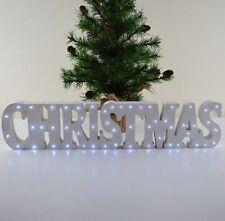 White Christmas LED Light up Word Block Mantle Window Shelf Sign Decoration Xmas