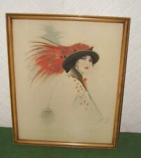 ANTIQUE PAINTING PORTRAIT OF YOUNG LADY IN FEATHER HAT ART DECO V.OAKLEY c 1915
