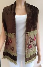 Green Brown Velour Floral Detail Stole Scarf 2BX