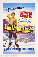 1930s Sun Valley Ketchum Idaho Vintage Railroad Travel Advertisement Poster