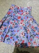 Per Una skirt blue floral lined flat at waist with flared panels from hip 10