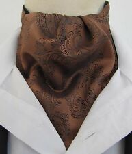 Mens Pre-tied Dark Copper & Black Paisley Silk Satin Ascot Cravat & Handkerchief