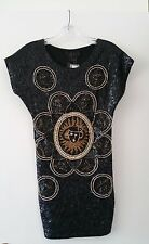 Attitudes by Debra NWT beaded black and gold Zodiac dress/tunic Vintage