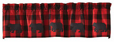 Bear Applique Buffalo Check Valance by Park Designs, 58x14, Black and Red Check