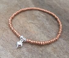 Dainty Rose Gold Silver Mini Heart Charm Beaded Surfer Bracelet Stretch Stacking