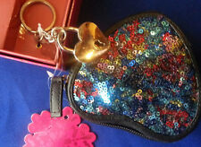 Coin Purse CANDIE'S New HEART Shape black multi-Color sequins keychain GIFT SET