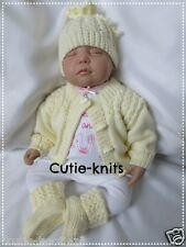 KNITTING PATTERN 33 To knit baby/reborn hat,cardigan &  booties, 5 sizes