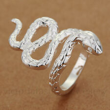 LONG SNAKE RING In Sterling Silver Plate. Thumb/ Wrap/ Open ADJUSTABLE Serpent