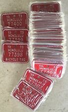 Hawaii Bicycle License Plate Box of 100 1973 Retro Authentic Unused in wrappers