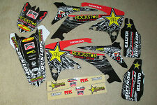 TEAM ROCKSTAR GRAPHICS & WHITE # PLATE  BACKGROUNDS HONDA CRF450R 2009 10 11 12