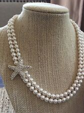 Swarovski Pearl Bridal Starfish Necklace, Ivory White Pearls