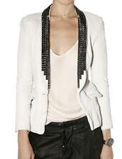 "BALMAIN $4960 Studded White Leather ""Open Front"" Jacket 38/2 ~ CELEB/MODEL-FAVE!"