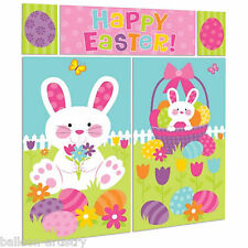 Happy Easter Bunny Eggs Garden Party Scene Setter Wall Decorating Kit