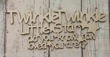 Twinkle Twinkle Little Star non verniciata LASER CUT 3mm Birch Plywood PLACCA
