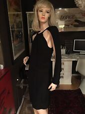 Exquisite $2800 Recent Tom Ford Black Silk Dress Open Sleeves Cape Sz 36 XS 2 !!