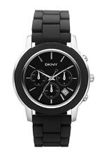 NEW DKNY BLACK,SILVER ACRYLIC RESIN BAND,CHRONOGRAPH LADY'S WATCH-NY8355