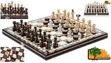 LUX PEARL DRAUGHTS - 35cm / 14in Handcrafted Wooden Chess Set with Checkers
