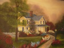 Jacqueline S Oil Painting ON Canvas Country House surrounded by Flowers Signed