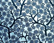 African Fabric 1/2 Yard Cotton NAVY BLUE Floral Branches Abstract BTHY
