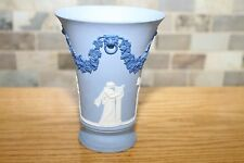 Rare Wedgwood Tri-color Pale Blue Jasper Ware Footed Vase Signed Lord Wedgwood