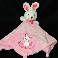Carters Adorable Pink Bunny Rabbit Baby Security Blanket Lovey Rattle