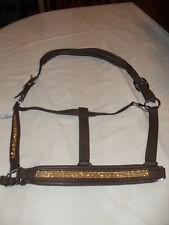 NEW DELUX BROWN BLING CRYSTAL H/S PADDED LEATHER HALTER WITH GOLD COLOR CRYSTALS