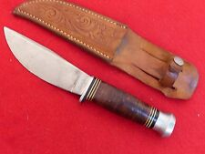 "Vintage Kinfolks 8.5"" fixed blade stacked leather handle K380 knife"