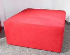 HOCKER rot 80 x 80 x 40 Alcantara Wildleder Fusshocker Couchhocker red