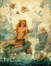 MERMAID CHERUBS UNDERWATER SEA BUTTERFLY FANTASY VINTAGE *CANVAS* ART PRINT